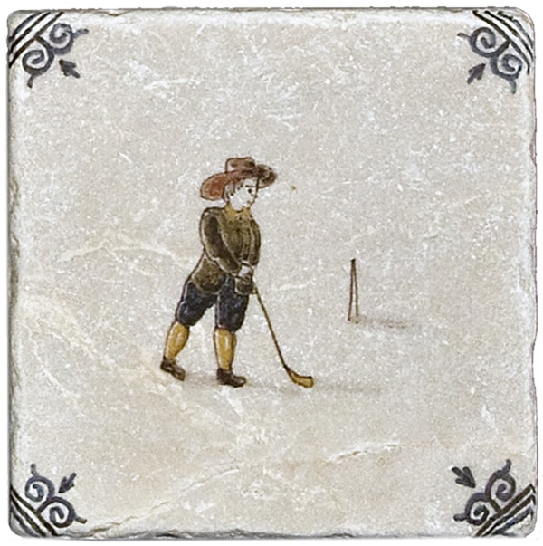 DFT311111 Golfing Right Delft stone tile accent 1