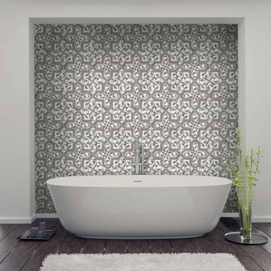 Florence bath tile on carrara SQUARE