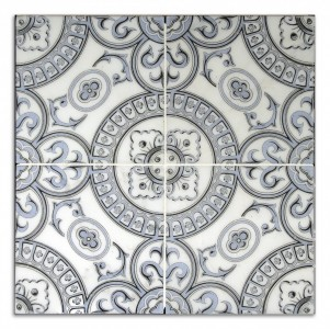 Heirloom Blue <br> Shown on Carrara <br><em> Showing 4 tiles to create 1 pattern</em>