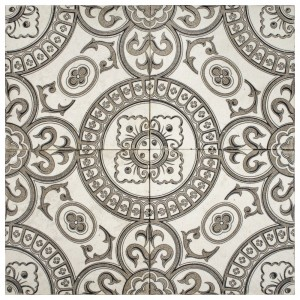 Heirloom Mocha <br> Shown on Limestone <br> <em> Showing 4 tiles to create 1 pattern</em>