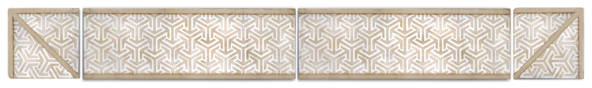 contemporary Modern Luxury Tile high-end designer patterned accents and listellos decorative art pieces avant-garde modernized limestone carrara marble thassos 6x12 3x6 2x4 2x6 4x8 unique hand-crafted made-to-order custom kitchen bath floor wall wainscoting fireplace tub vanity powder room