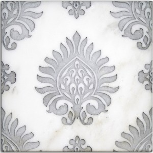 feminine designer tile girlie lady-like woman luxury luxurious high-end unique hand-crafted decorative stone accents for bath shower wall tub surround waiscoting powder room wall floor flooring 6x6 12x12 4x4 8x8 ideas inspiration influenced