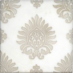 feminine designer stone tile on limestone carrara marble thassos botticino durango crema ella travertine french straight-edged tumbled feministic girlie ladylike dainty tender womanly pattern art decos