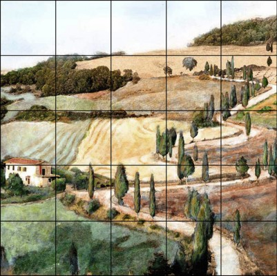 """Tuscan Landscape Tile Mural shown as 30"""" high x 30"""" wide"""