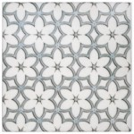 flower patterned tile for tub wall black white gray blue grey beautiful unique flooring floor tile designer decorative floral blossoming botanic blooming daisies