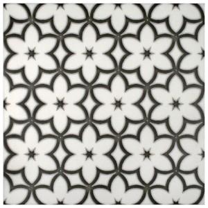 flower patterned tile natural stone 6x6 12x12 4x4 8x8 carrara thassos limestone black and white gray blue kitchen bath tub shower backsplash fireplace floor flooring stove top range