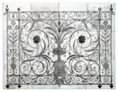 unique tile murals wrought iron black and white kitchen backsplash wall tile