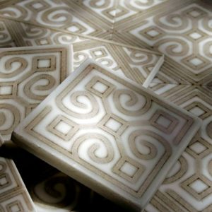 unique custom decorative tile for wall, backsplash, bathroom floor on natural stone of your choice