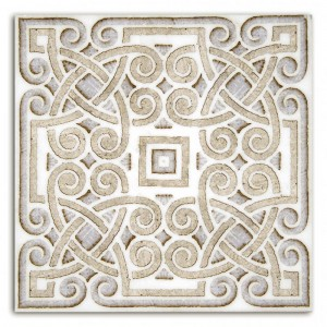 celtic patterned tile inspired designs limestone carrara marble unique irish like beautiful interesting shower walls bath floor tub surround kitchen backsplash fireplace fire place 6x6 12x12 accents decos stone hand-crafted pre-sealed designer luxury gaelic