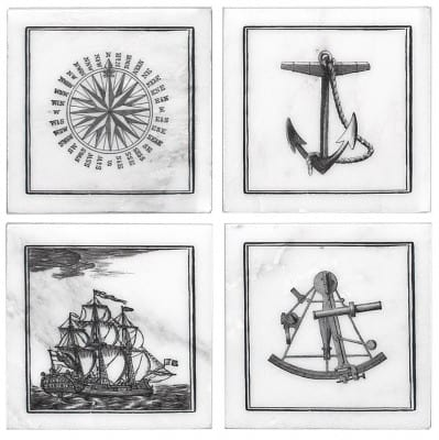 maritime accent tiles compass sailboat anchor natural stone