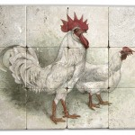 Rooster mural stone tile kitchen backsplash stove top back splash wall above range limestone tumbled botticino durango light travertine country farm chicken hen roosters countryside made and sized to order unique rustic vintage old world
