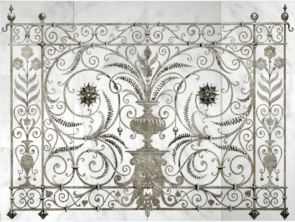 peperigno iron unique wall murals on genuine stone tiles on carrara marble