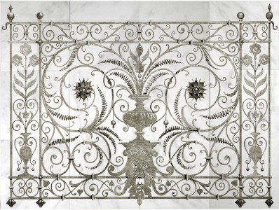 peperigno iron unique wall murals on genuine stone tiles on carrara marble