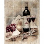 stone tile wine murals for kitchen focal point unique and elegant designs made to order and custom sizing limestone carrara marble thassos tumbled durango light travertine rustic italian inspired bottles fruit country vineyards trees glasses Bordeaux red white wine