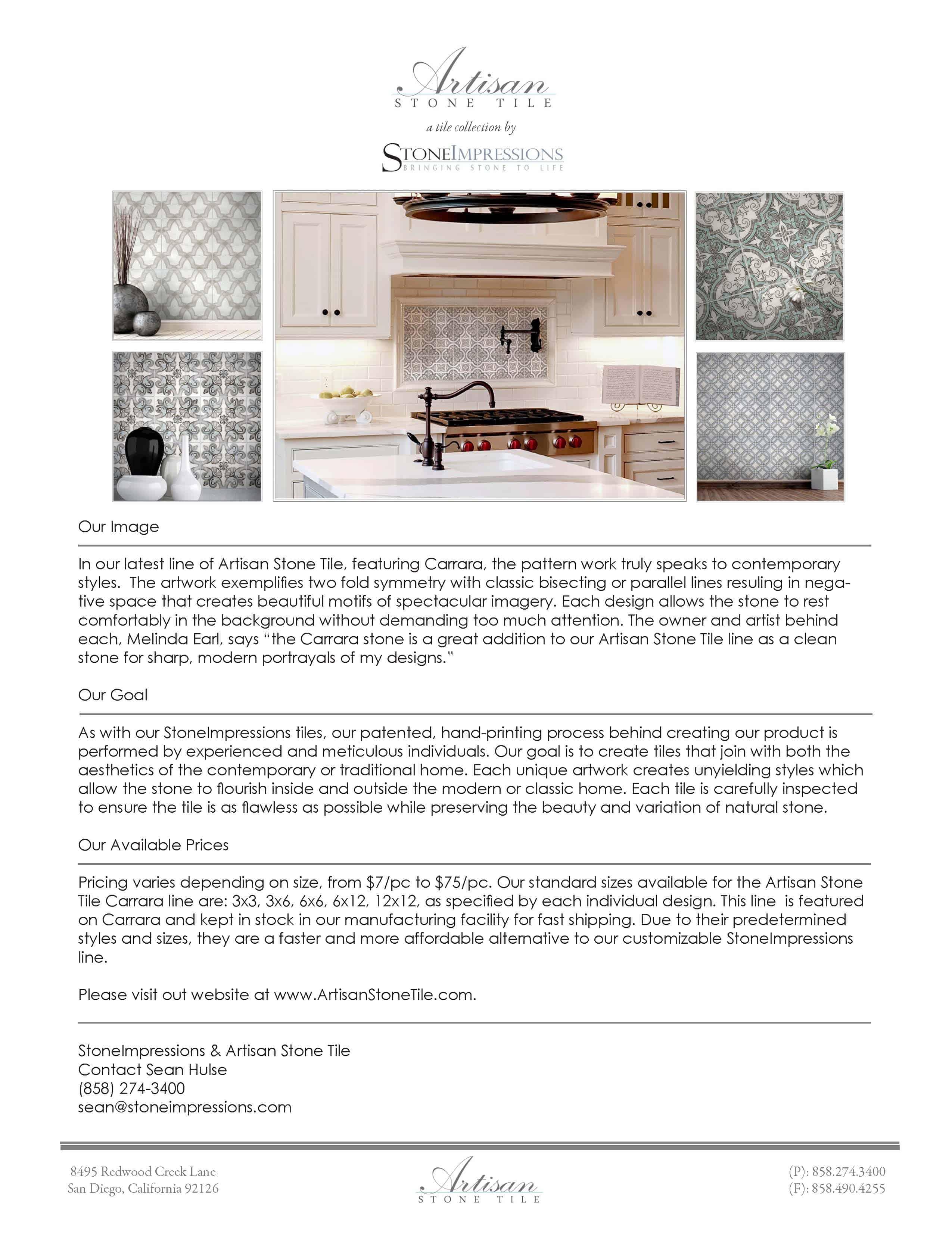 June 2015 - Artisan Stone Tile Carrara Press Release