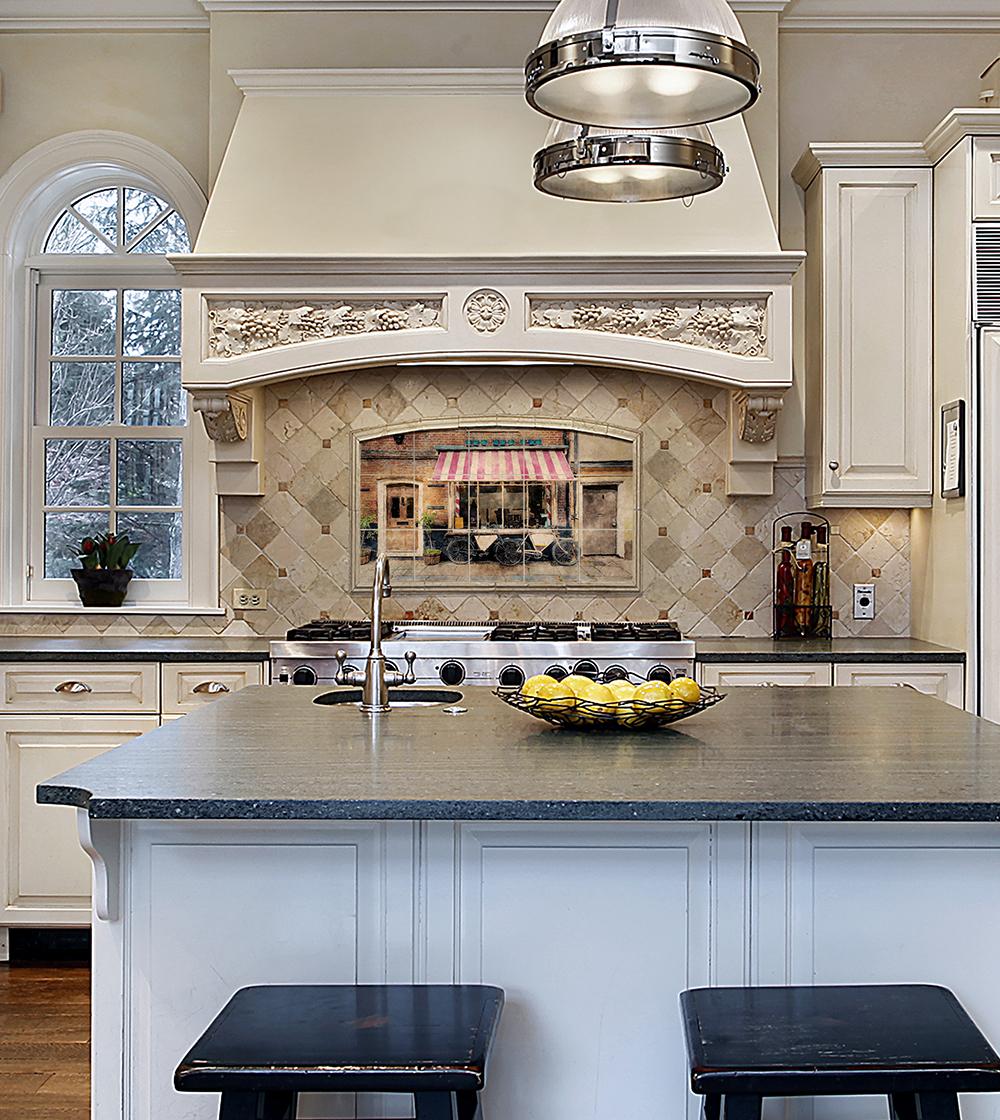 Kitchen in luxury home with decorative oven backsplash