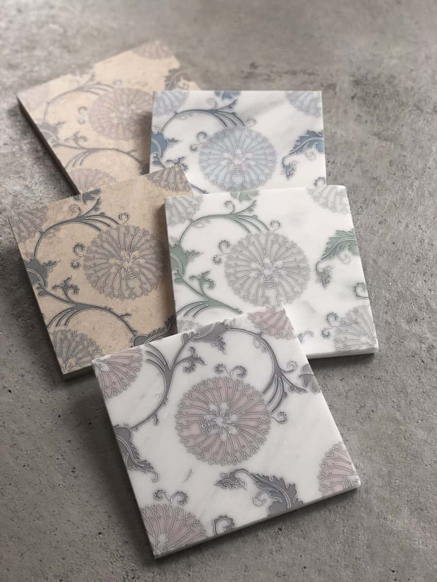 Elaina floral tile pattern on carrara