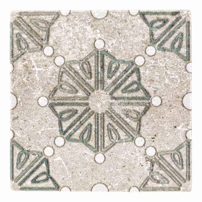 Dahlia Pattern (Emerald) on Perle Blanc
