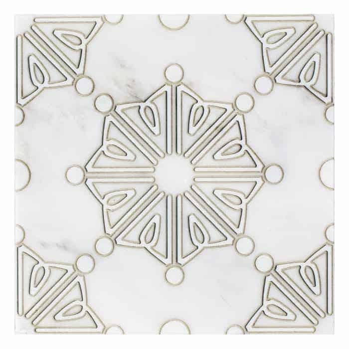 Dahlia Pattern (Pearl) on Carrara