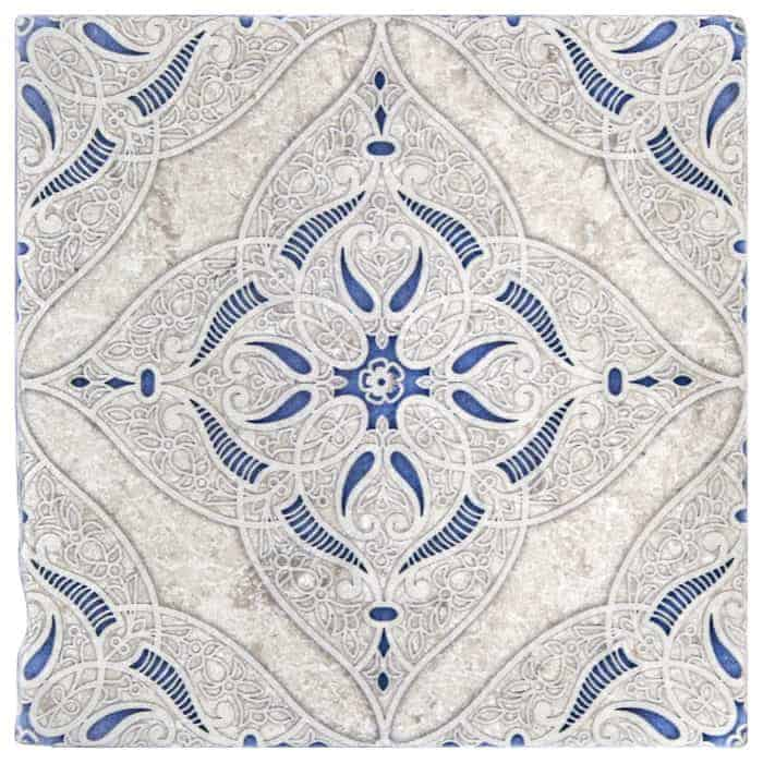 Granada Pattern (Sapphire) on Perle Blanc