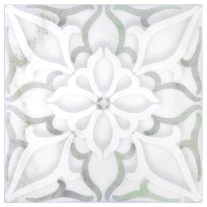 Petals Pattern (Green) on Carrara