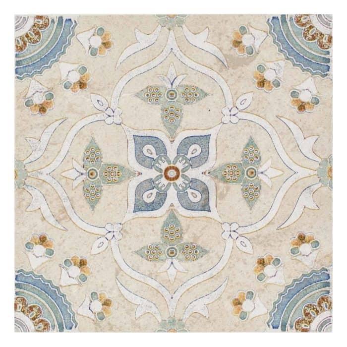 Sweden Pattern (Cool Blue) on Limestone