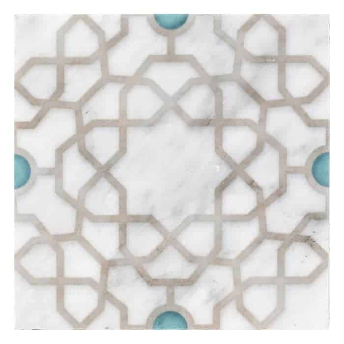 Medina Pattern (Turquoise) on Carrara more veining (1)