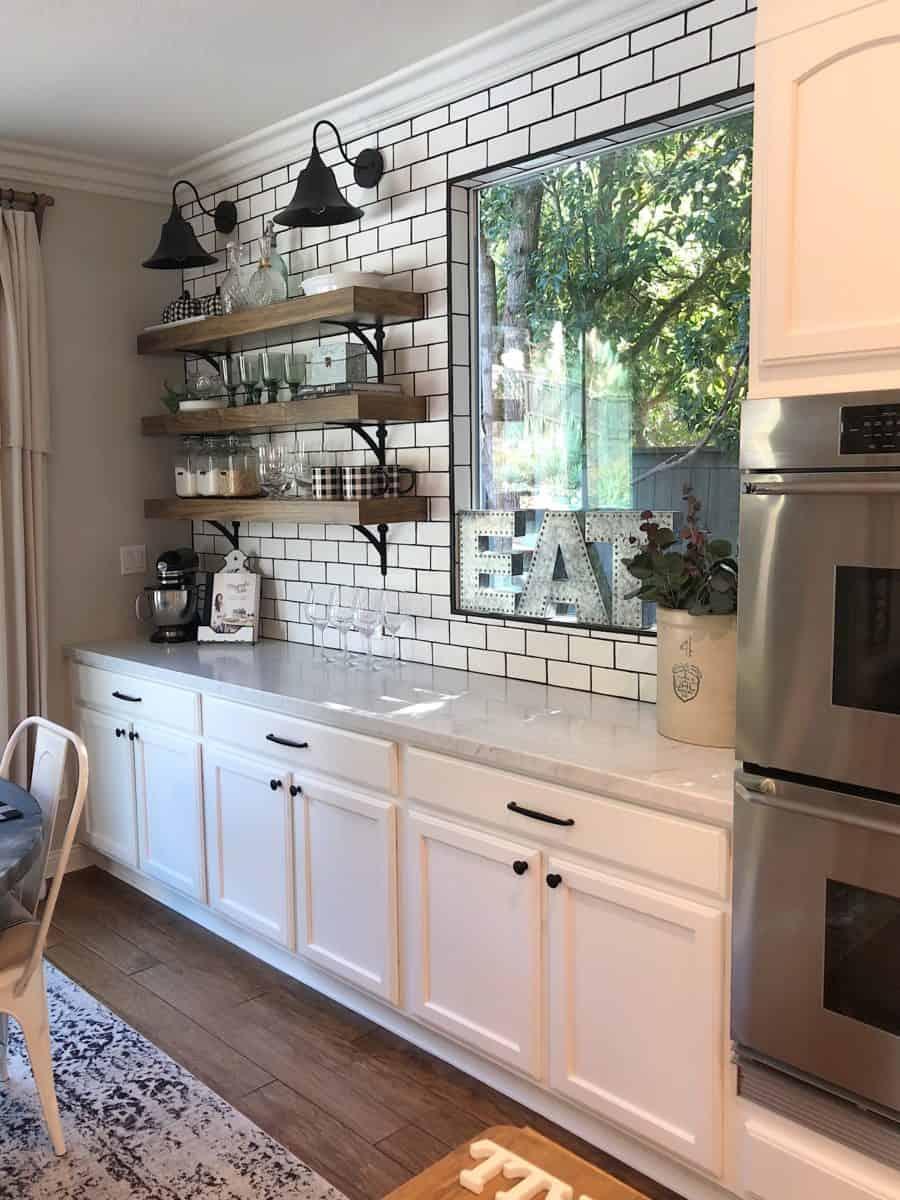 Floating shelves and corner charm