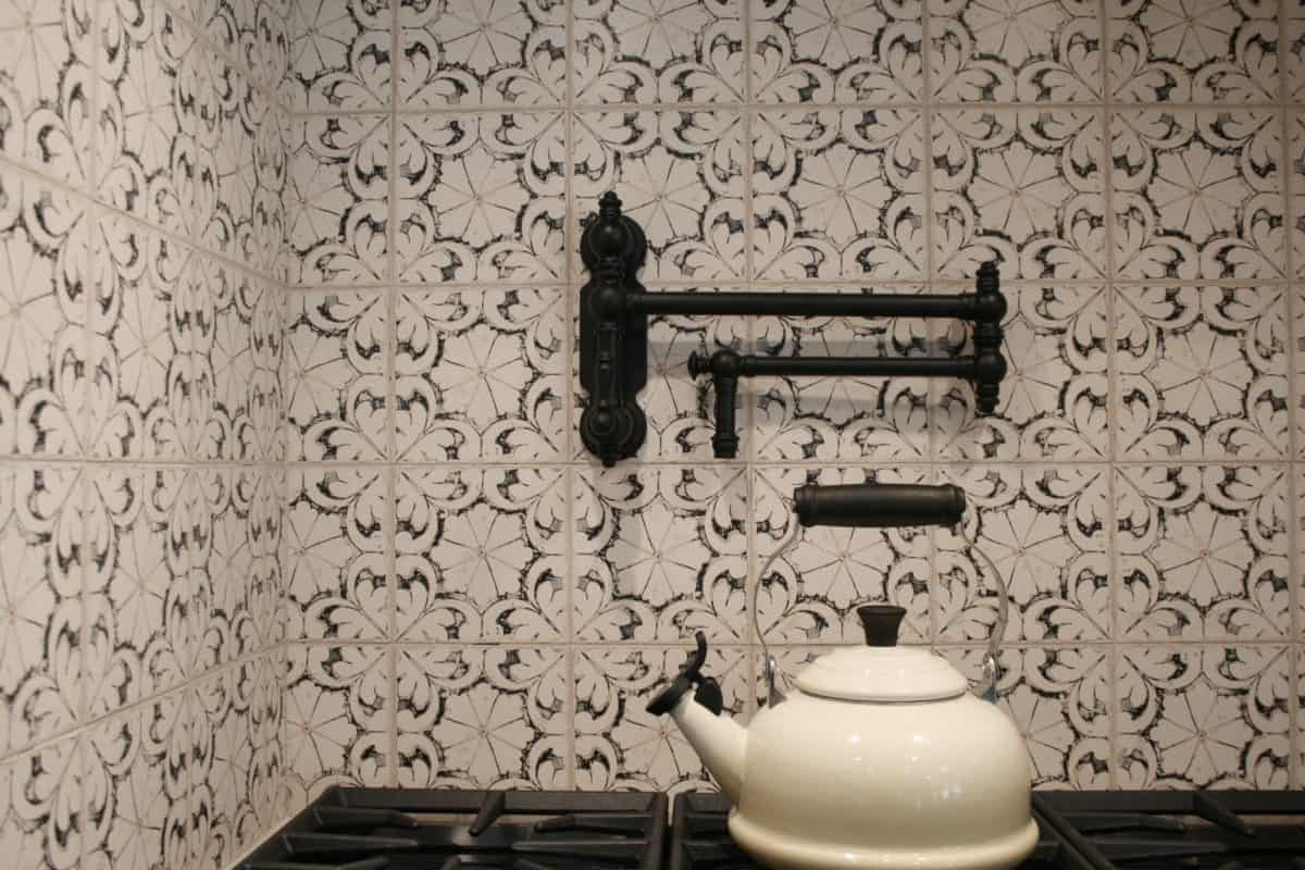 Oasis Pattern Kitchen backsplash on limestone