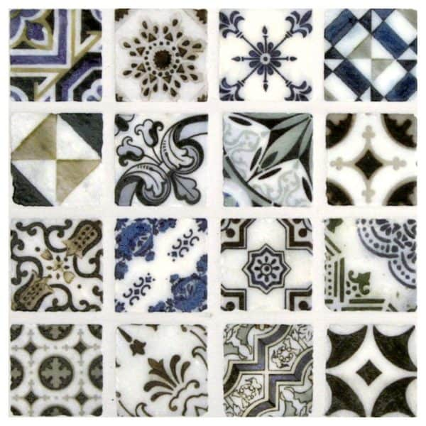 The Bristol Deco Dots Collection shown on 1x1 Carrara