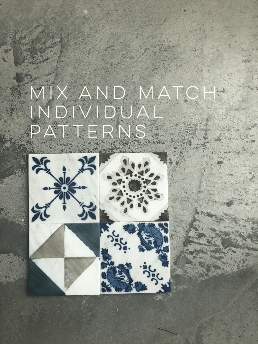 various tiles from Bristol Deco dot collection on 6x6 honed carrara