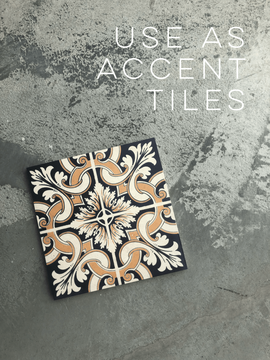 Deco dot accent tile on 6x6 honed limestone