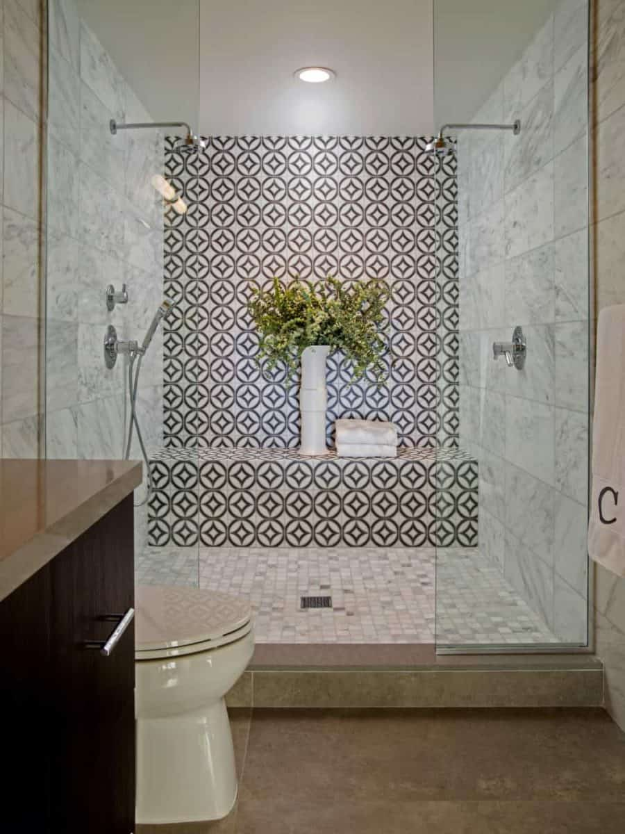 Hayden Dual pattern on 6x12 carrara in bathroom