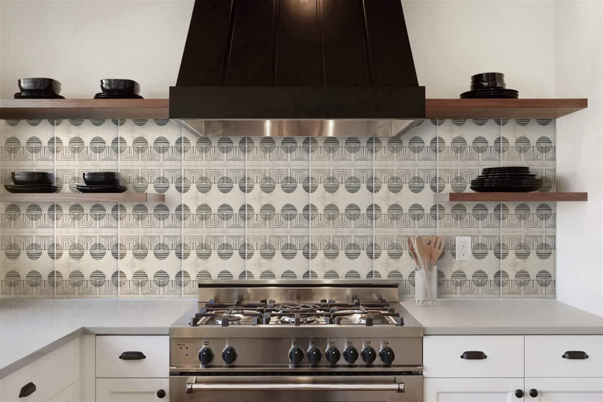 kitchen backsplash of custom modern tile