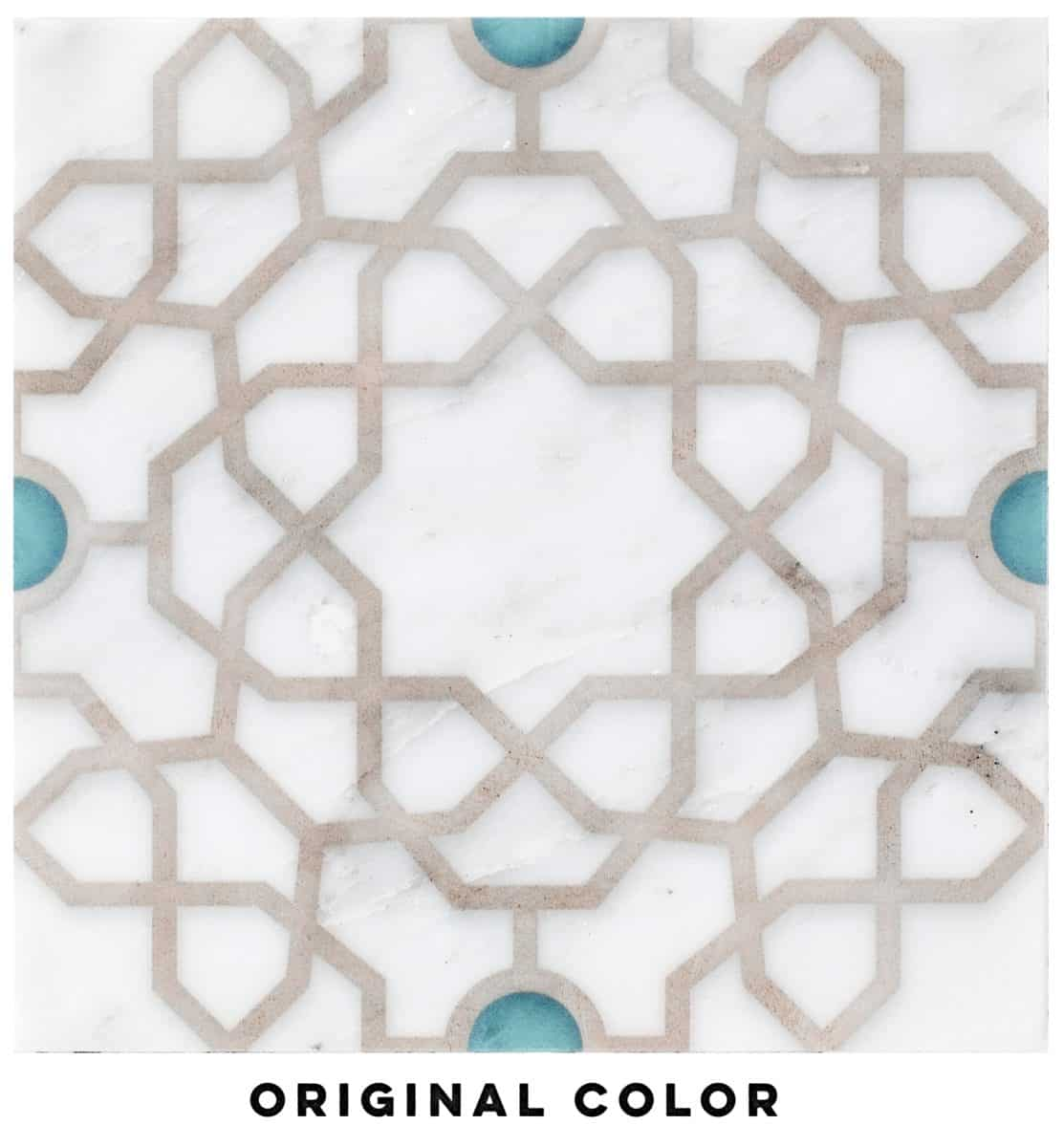 Medina Pattern Tile (turquoise) on Carrara marble
