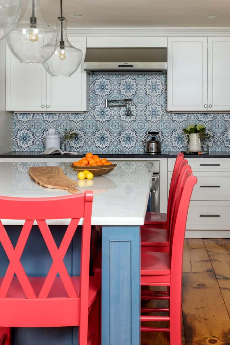 sanza pattern in snowflake blue on 12x12 carrara Moroccan kitchen backsplash