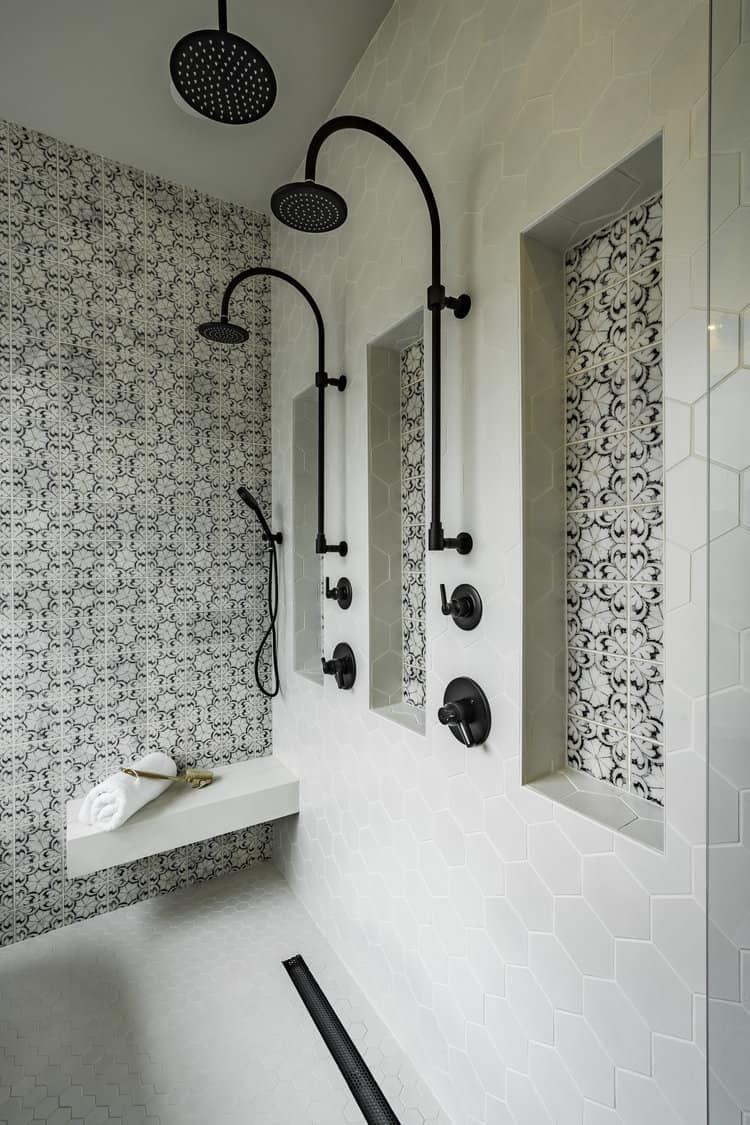 Oasis pattern modern spanish master bathroom
