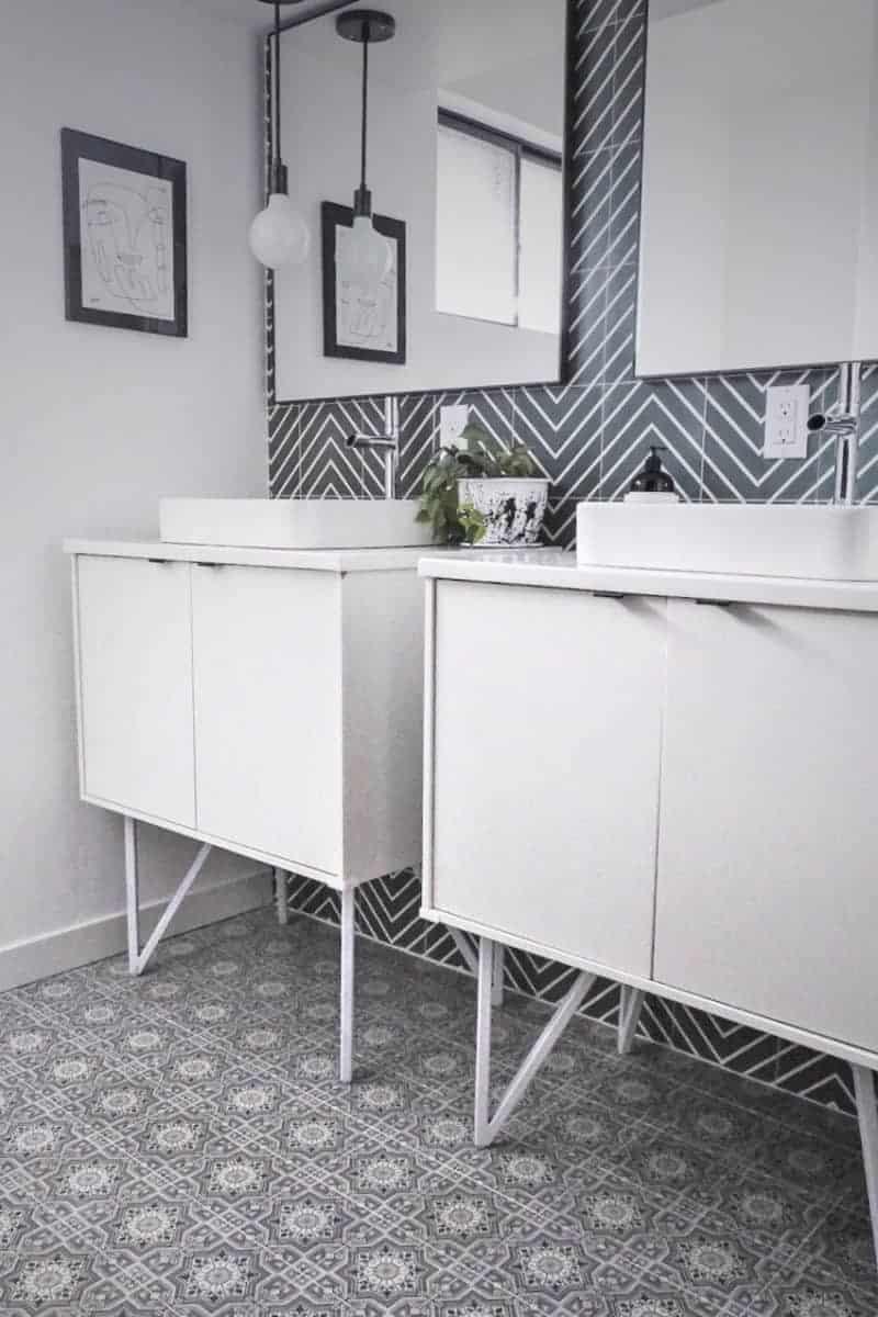 Cabrillo pattern on modern bathroom floor